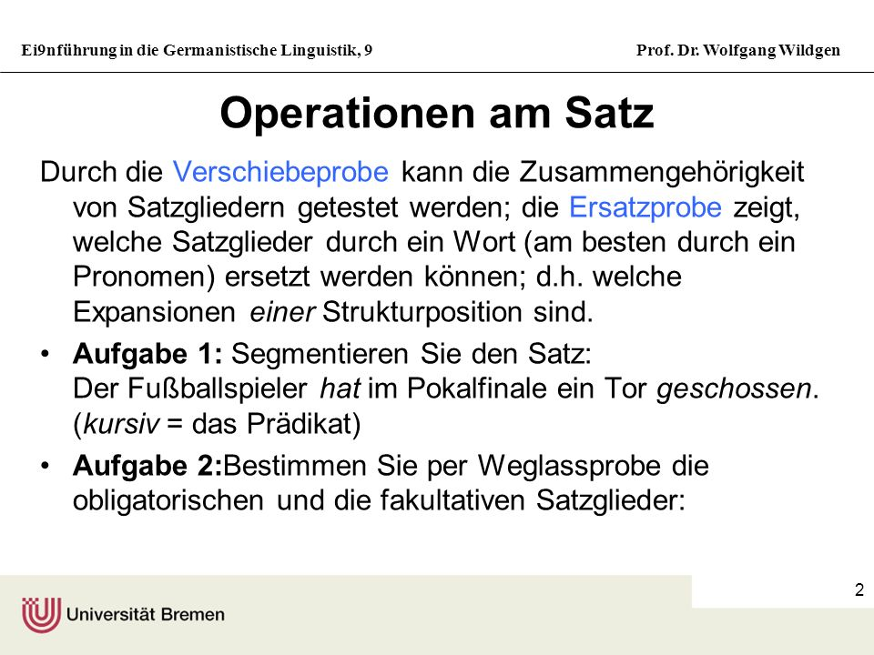 Operationen am Satz