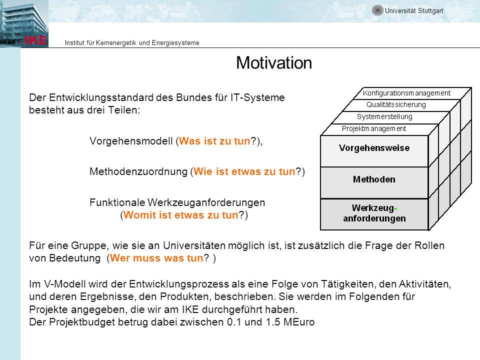 Motivation Der Entwicklungsstandard des Bundes für IT-Systeme besteht aus drei Teilen: Vorgehensmodell (Was ist zu tun ),