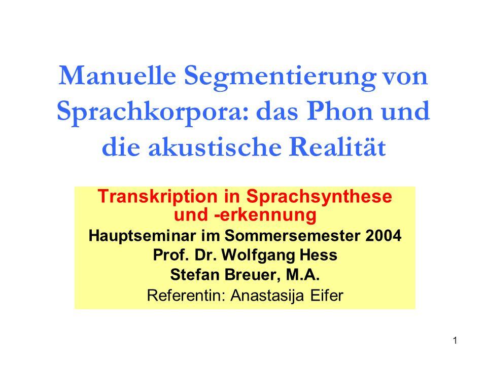 Hauptseminar im Sommersemester 2004