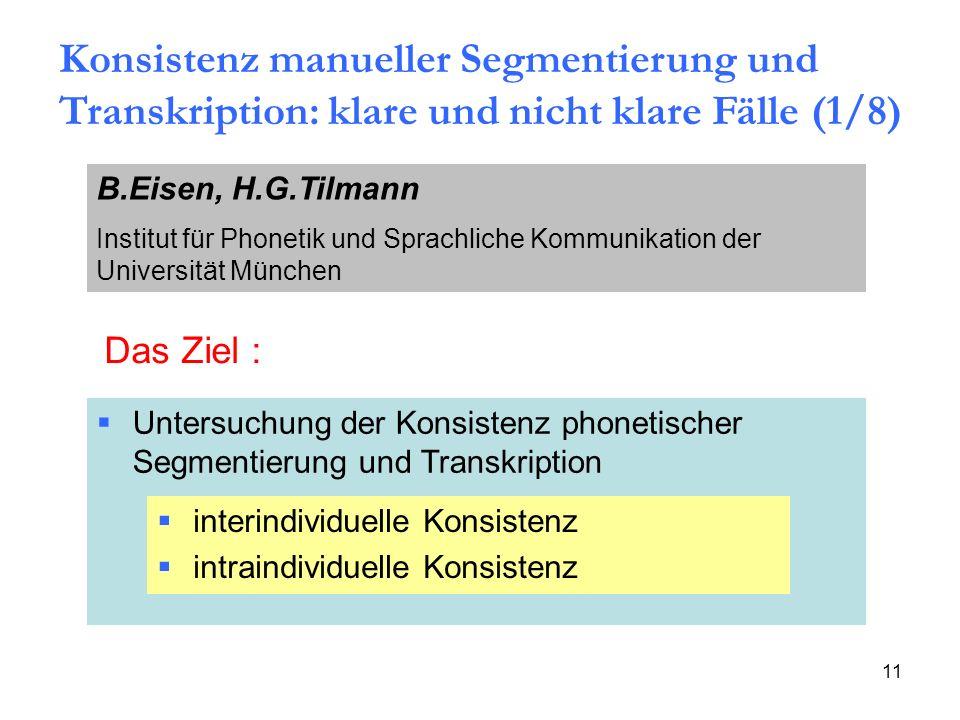 Konsistenz manueller Segmentierung und Transkription: klare und nicht klare Fälle (1/8)
