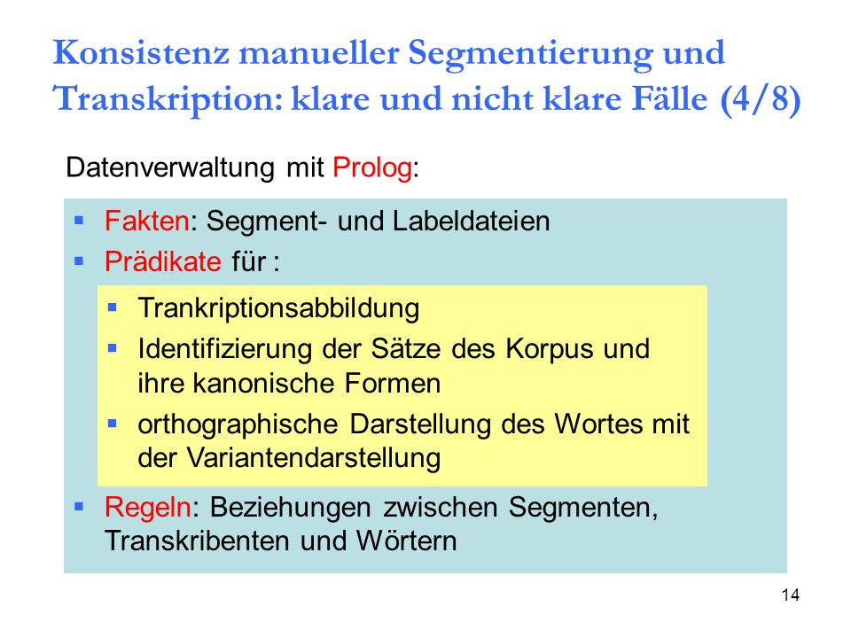 Konsistenz manueller Segmentierung und Transkription: klare und nicht klare Fälle (4/8)