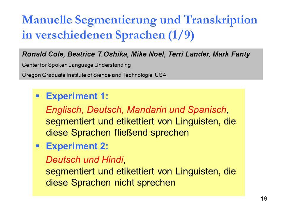 Manuelle Segmentierung und Transkription in verschiedenen Sprachen (1/9)