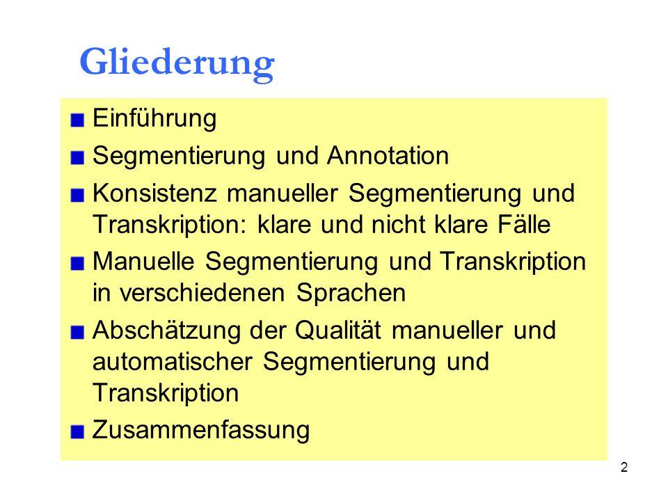 Gliederung Einführung Segmentierung und Annotation