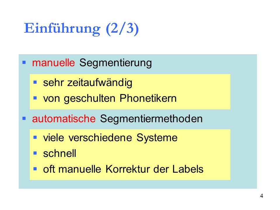 Einführung (2/3) manuelle Segmentierung sehr zeitaufwändig