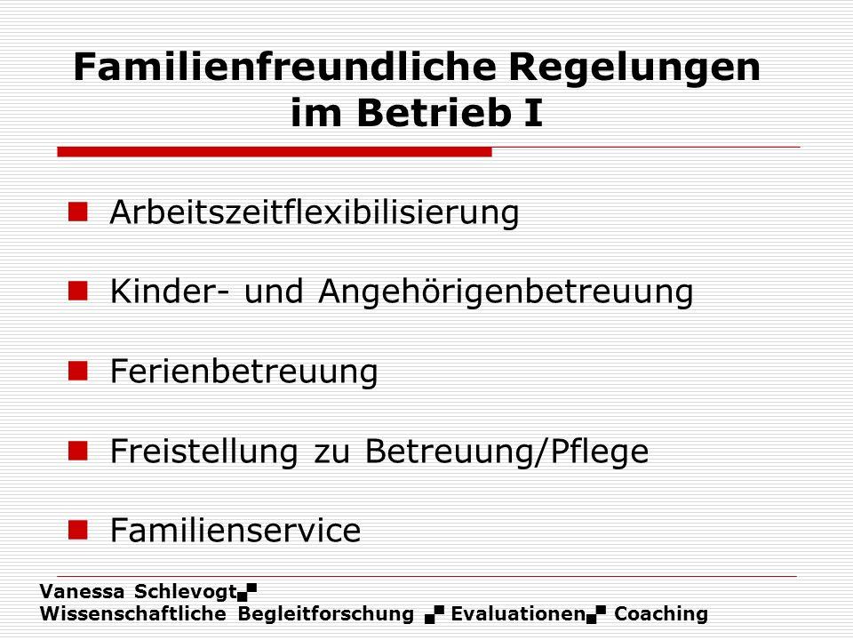 Familienfreundliche Regelungen im Betrieb I
