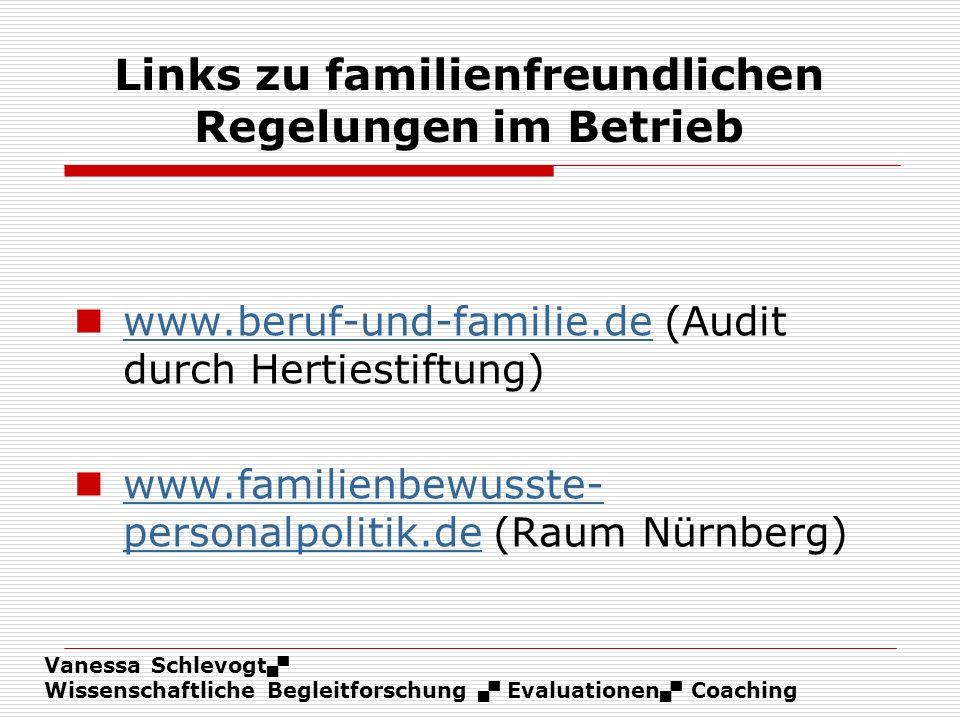 Links zu familienfreundlichen Regelungen im Betrieb