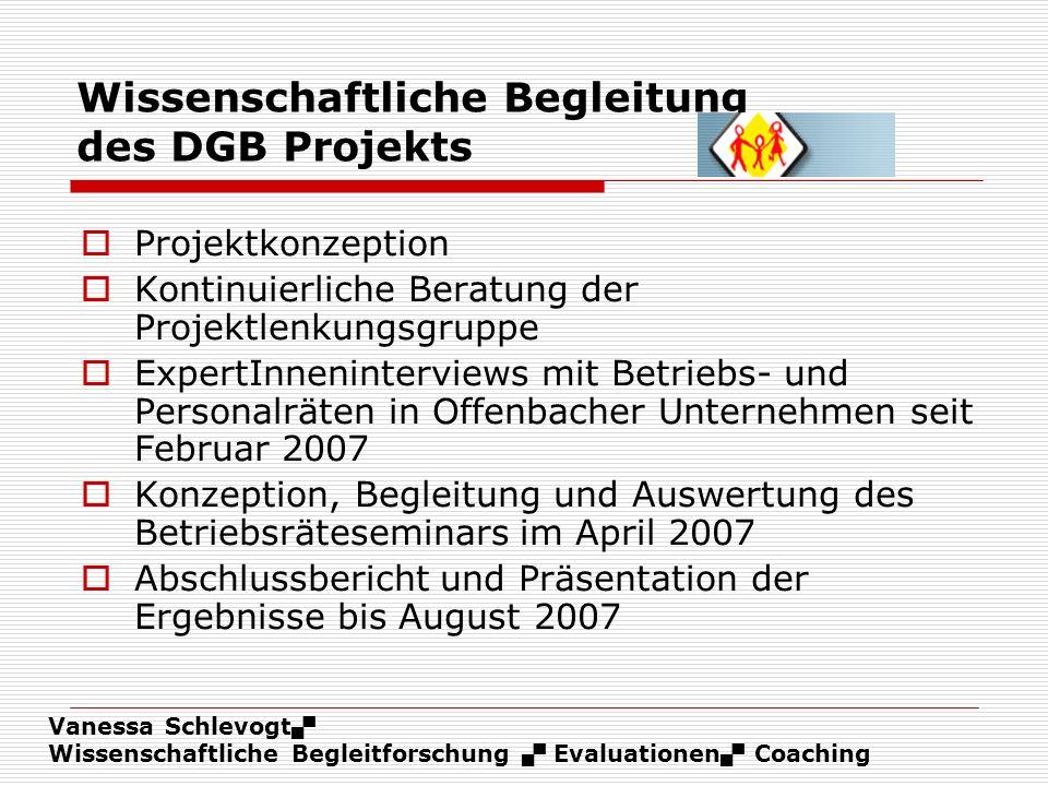 Wissenschaftliche Begleitung des DGB Projekts
