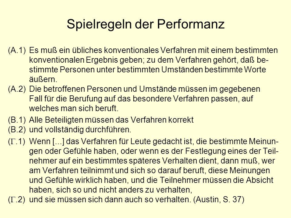 Spielregeln der Performanz