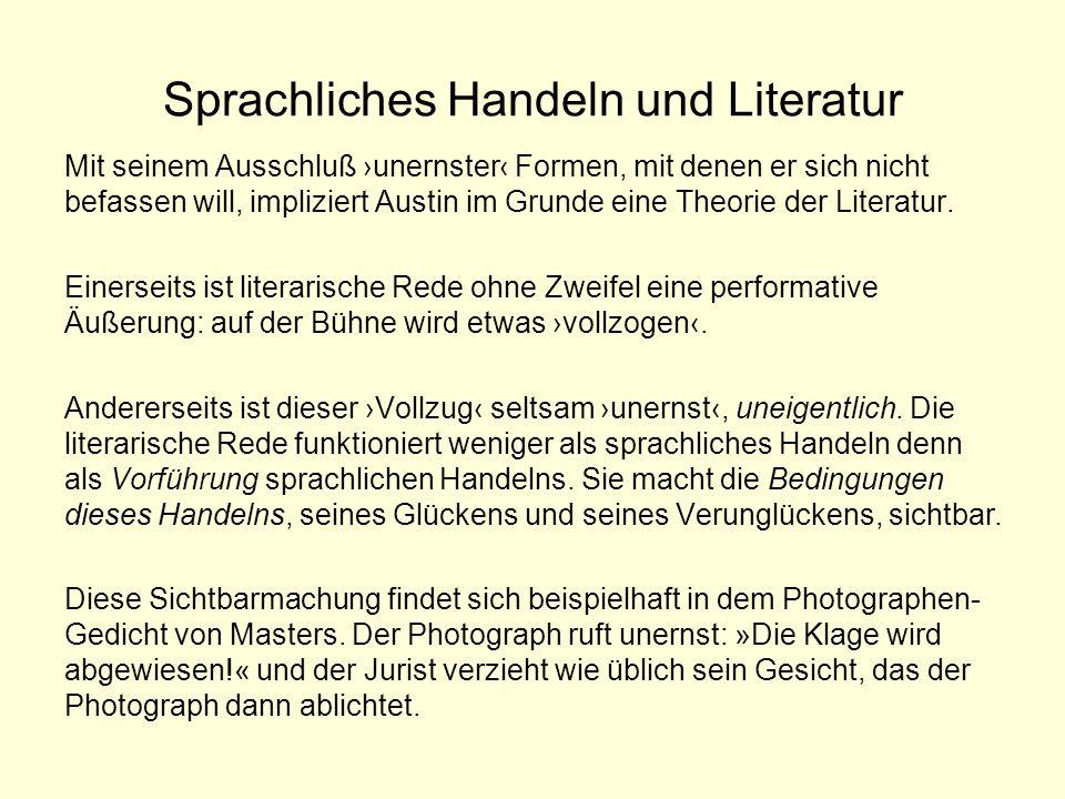 Sprachliches Handeln und Literatur