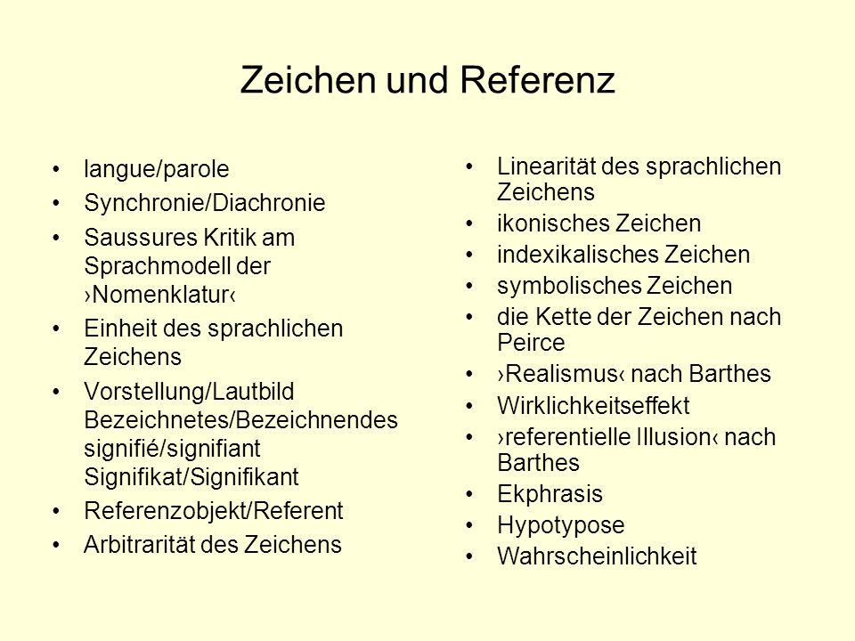 Zeichen und Referenz langue/parole Synchronie/Diachronie