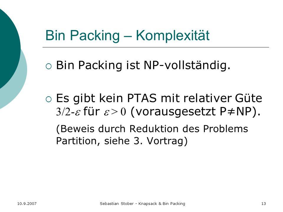 Bin Packing – Komplexität