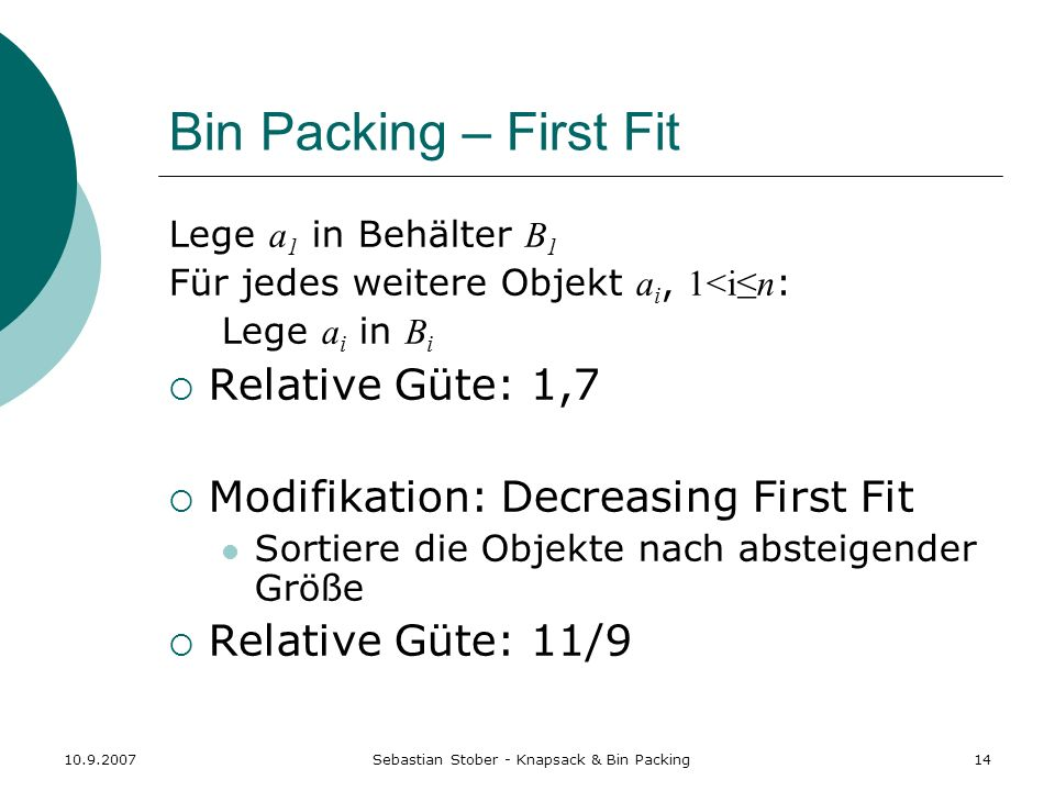Sebastian Stober - Knapsack & Bin Packing