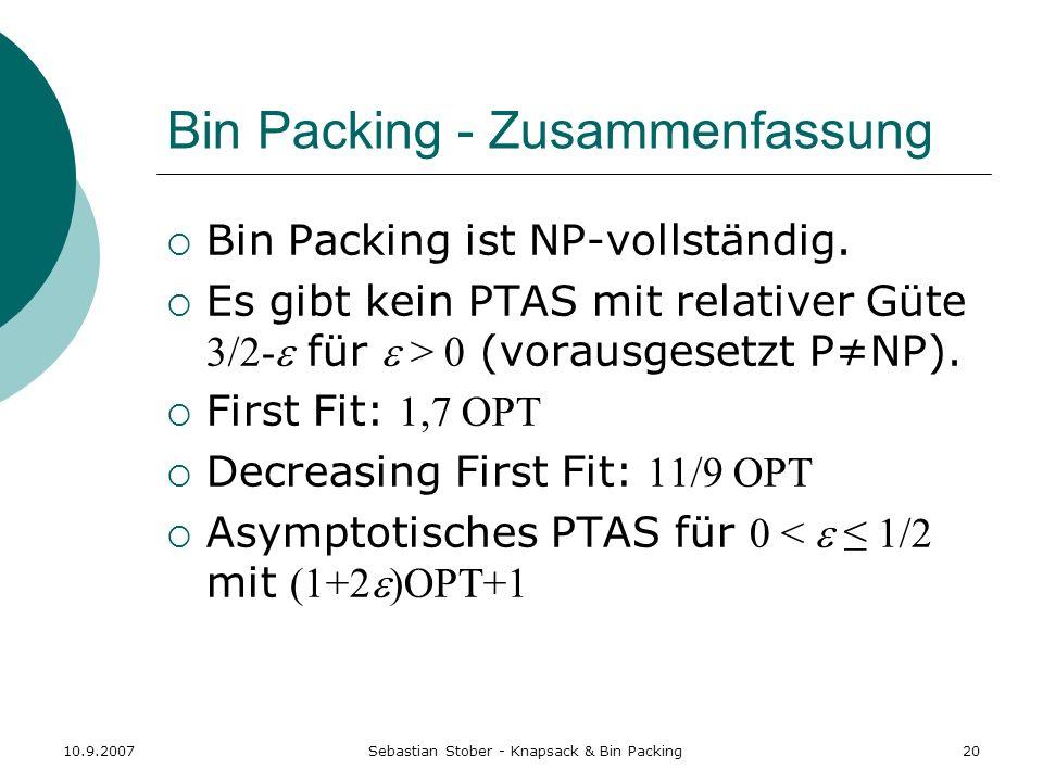 Bin Packing - Zusammenfassung