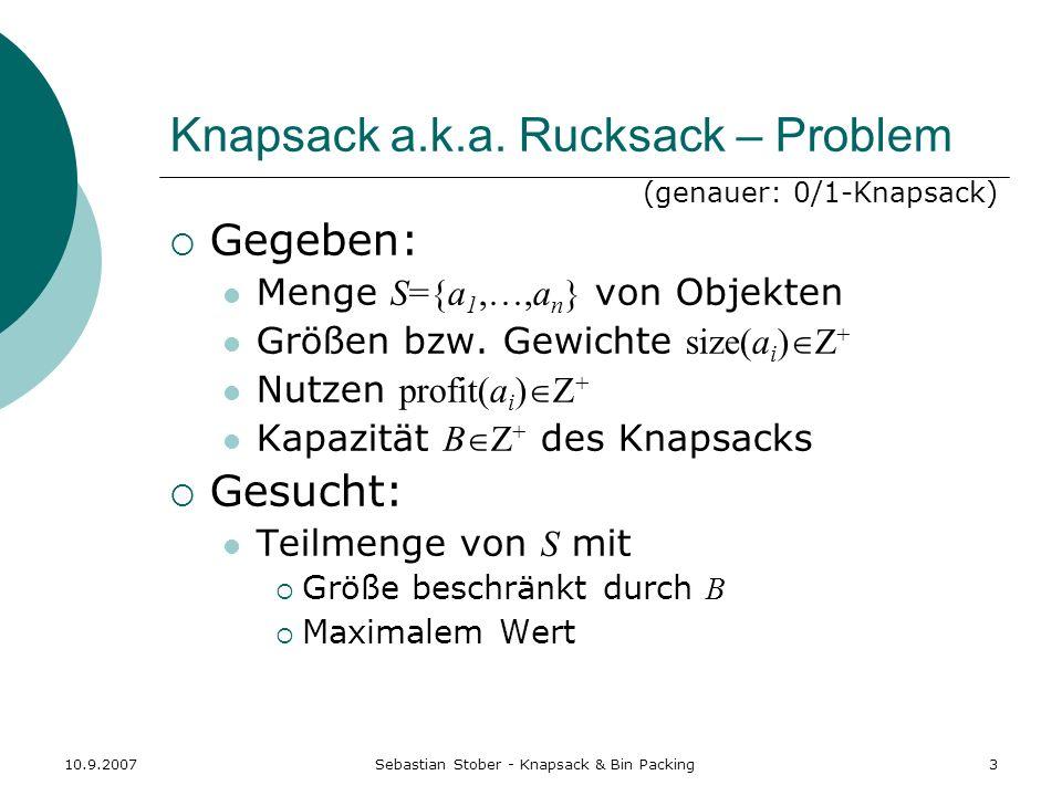Knapsack a.k.a. Rucksack – Problem