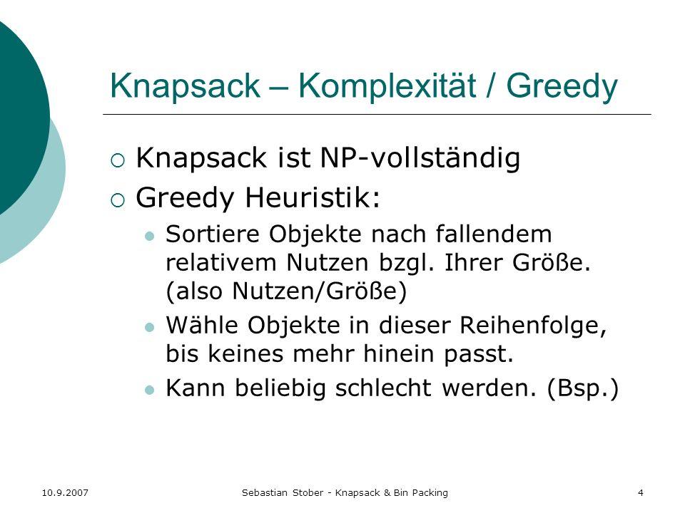 Knapsack – Komplexität / Greedy