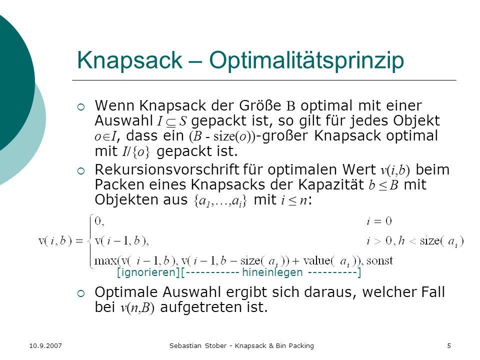 Knapsack – Optimalitätsprinzip