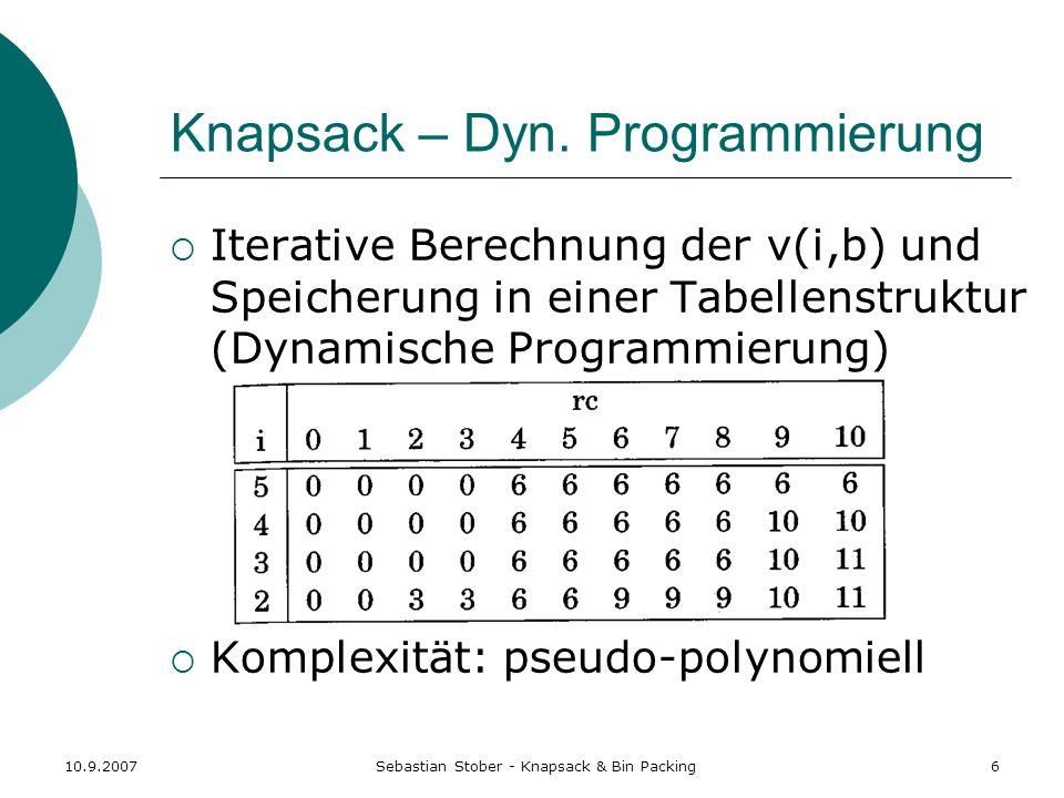 Knapsack – Dyn. Programmierung