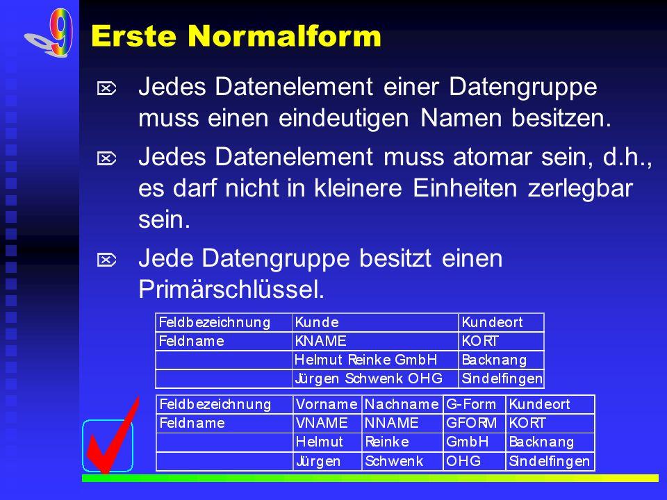 Erste Normalform9. Jedes Datenelement einer Datengruppe muss einen eindeutigen Namen besitzen.
