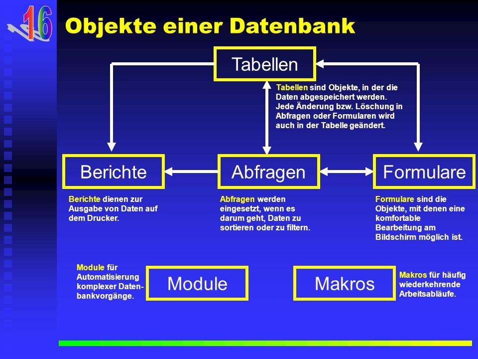 16 Objekte einer Datenbank Tabellen Abfragen Formulare Berichte Module