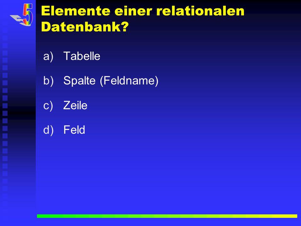 Elemente einer relationalen Datenbank