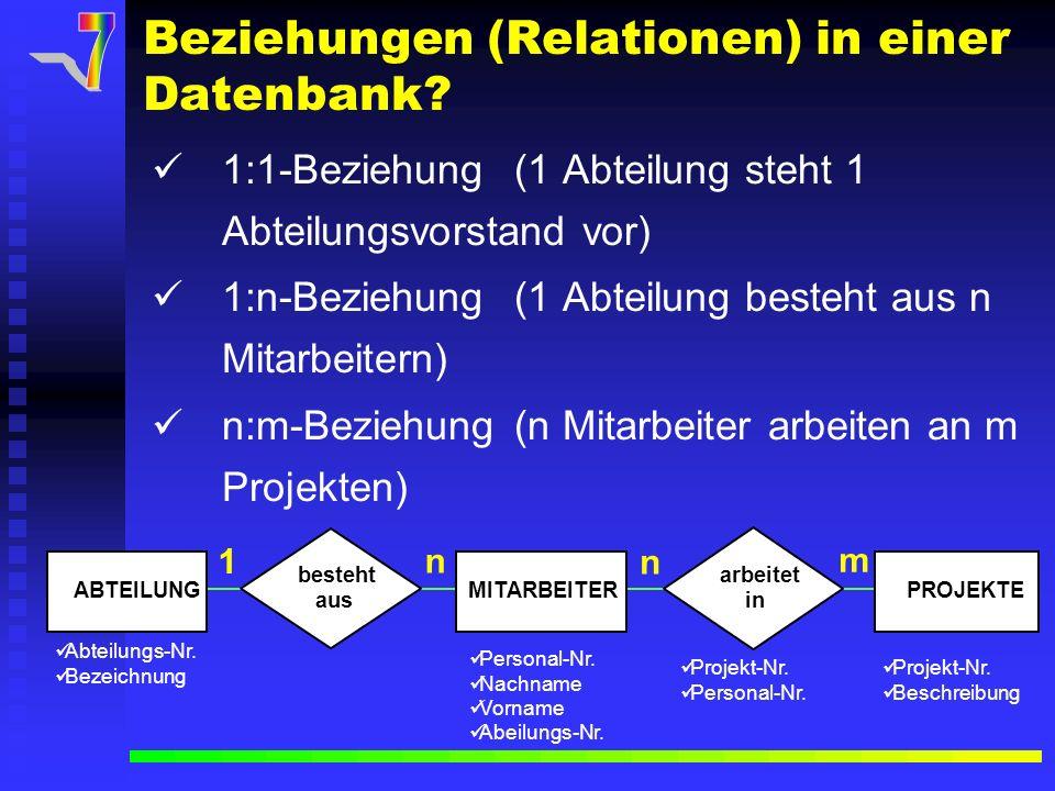 Beziehungen (Relationen) in einer Datenbank