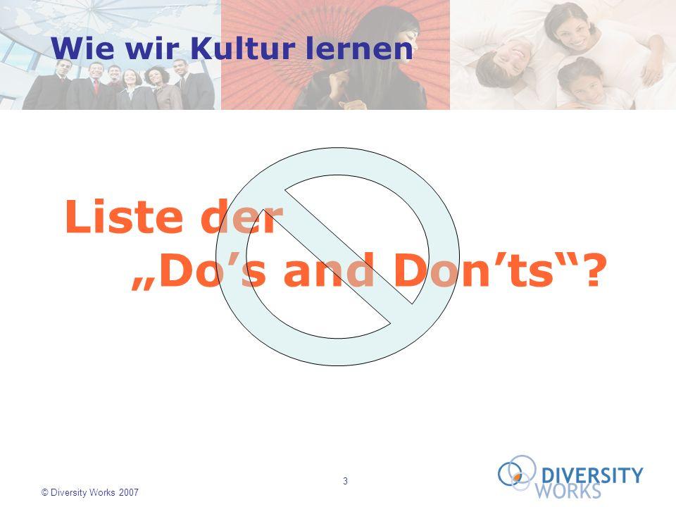 """Liste der """"Do's and Don'ts Wie wir Kultur lernen"""