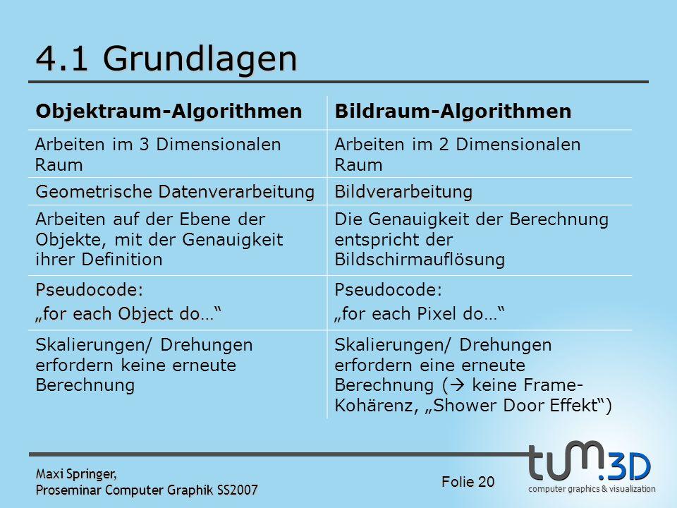 4.1 Grundlagen Objektraum-Algorithmen Bildraum-Algorithmen