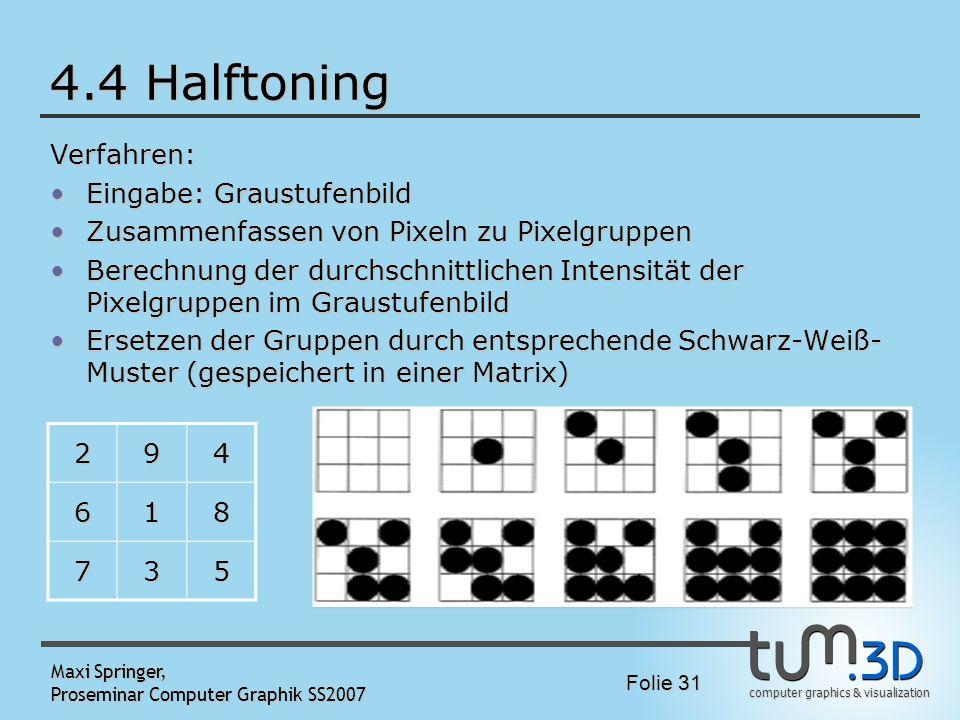 4.4 Halftoning Verfahren: Eingabe: Graustufenbild