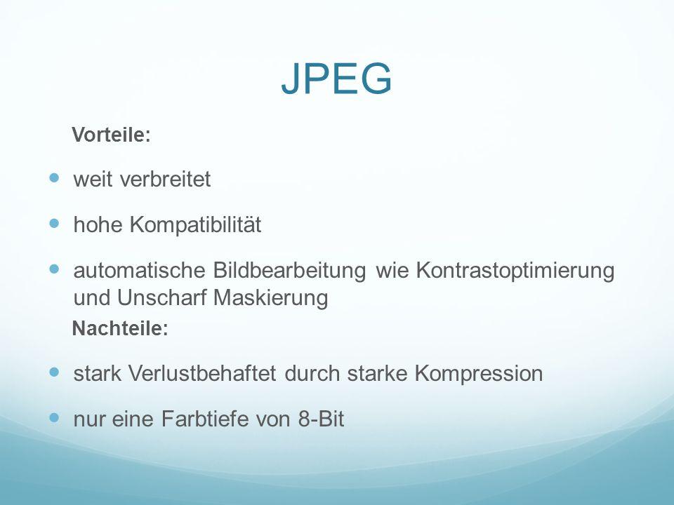 JPEG weit verbreitet hohe Kompatibilität