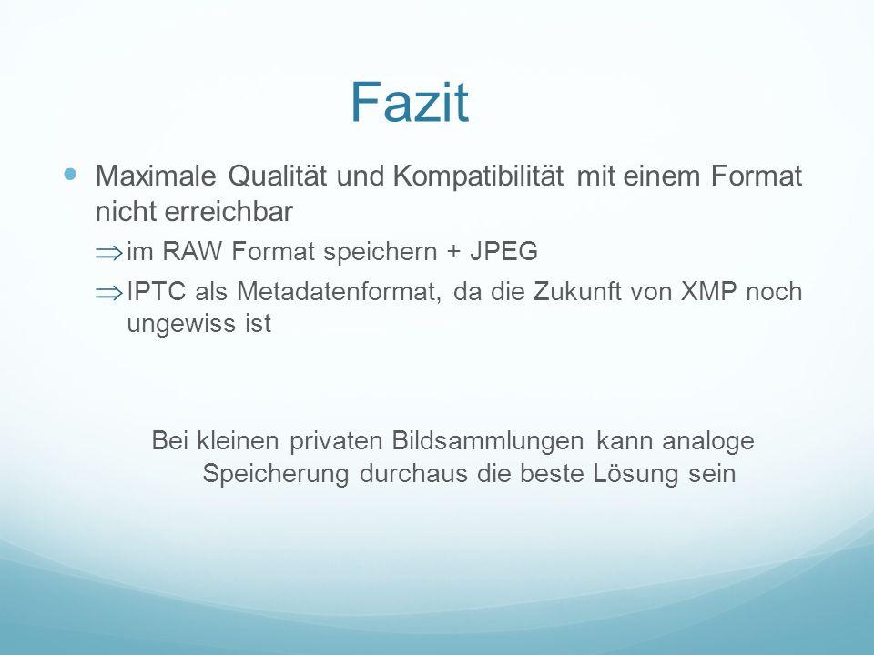 Fazit Maximale Qualität und Kompatibilität mit einem Format nicht erreichbar. im RAW Format speichern + JPEG.