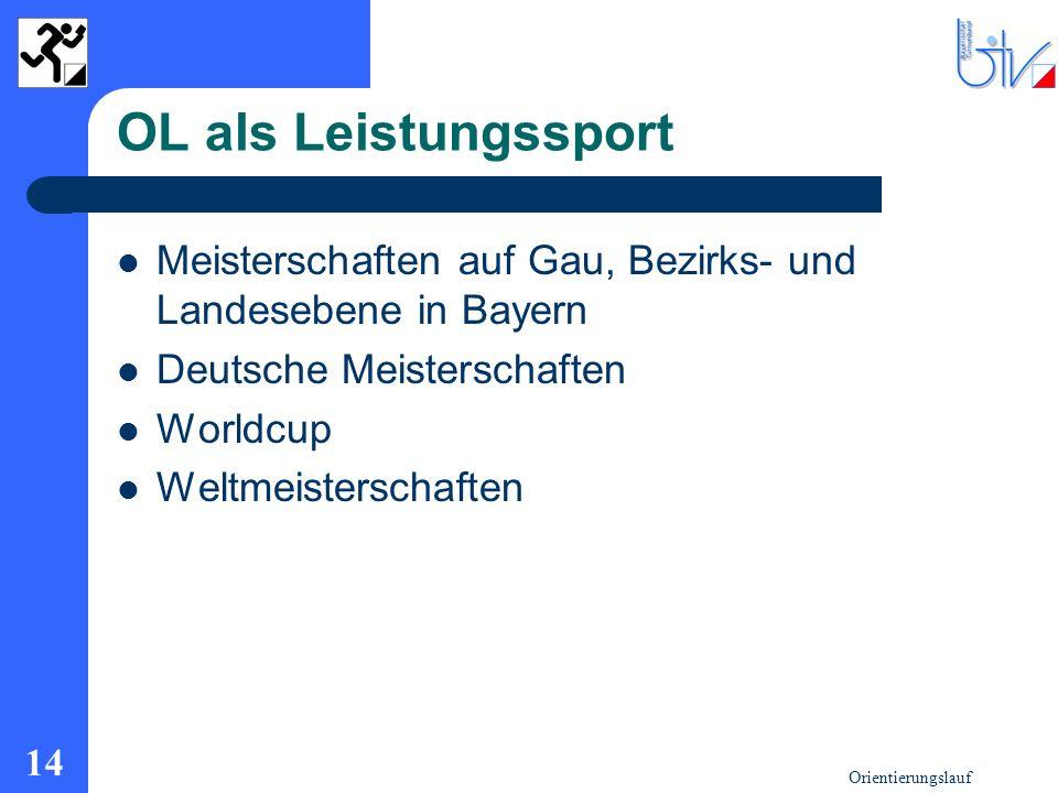 OL als Leistungssport Meisterschaften auf Gau, Bezirks- und Landesebene in Bayern. Deutsche Meisterschaften.