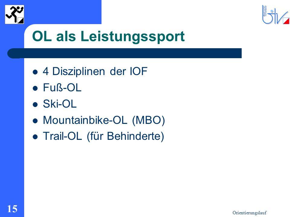 OL als Leistungssport 4 Disziplinen der IOF Fuß-OL Ski-OL