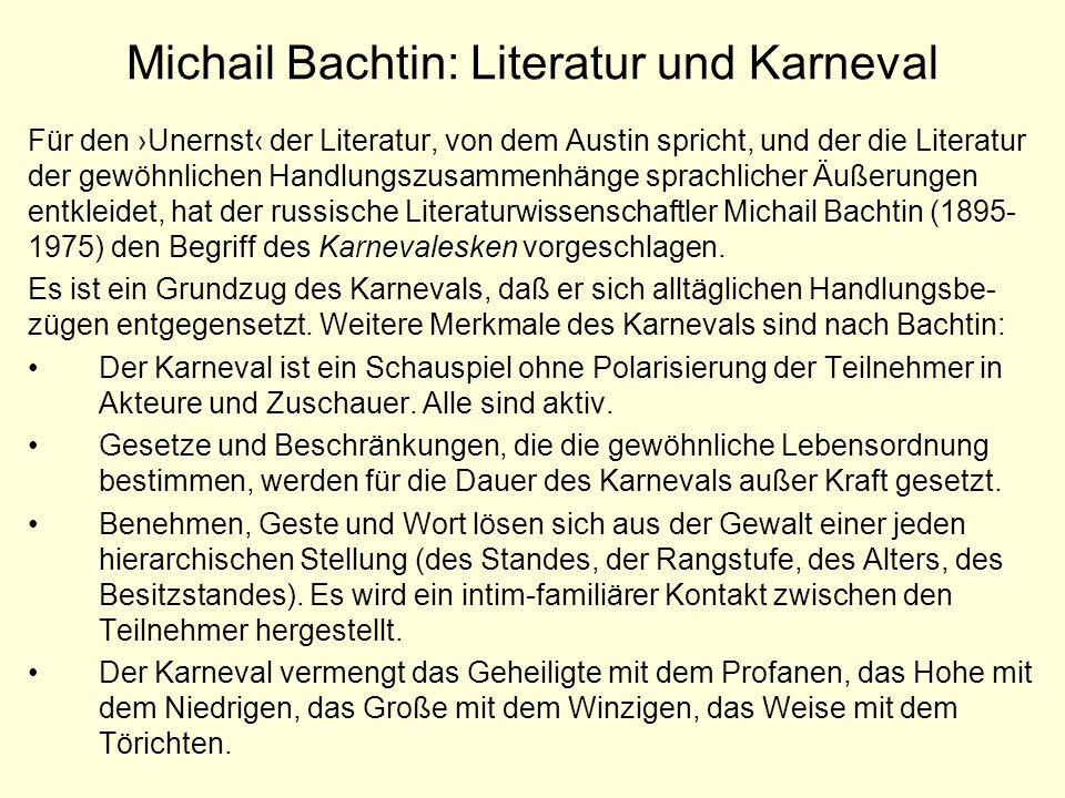 Michail Bachtin: Literatur und Karneval