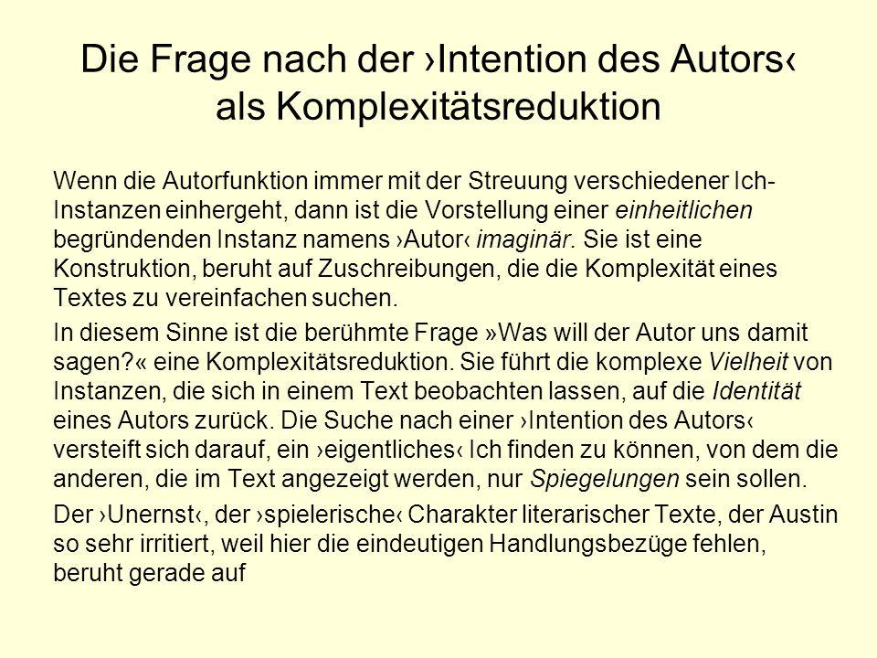 Die Frage nach der ›Intention des Autors‹ als Komplexitätsreduktion