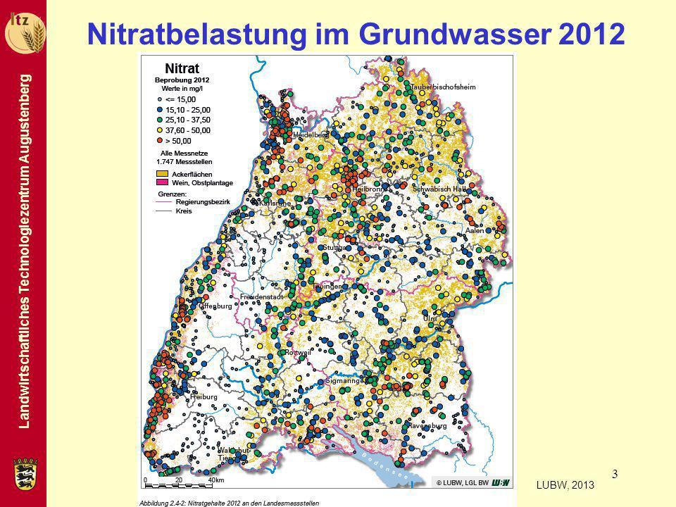 Nitratbelastung im Grundwasser 2012