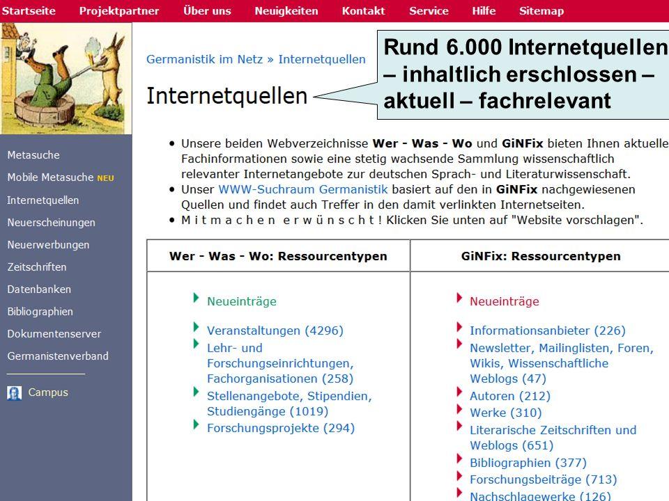 Rund 6.000 Internetquellen – inhaltlich erschlossen – aktuell – fachrelevant