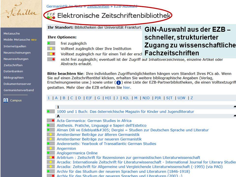 GiN-Auswahl aus der EZB – schneller, strukturierter Zugang zu wissenschaftlichen Fachzeitschriften
