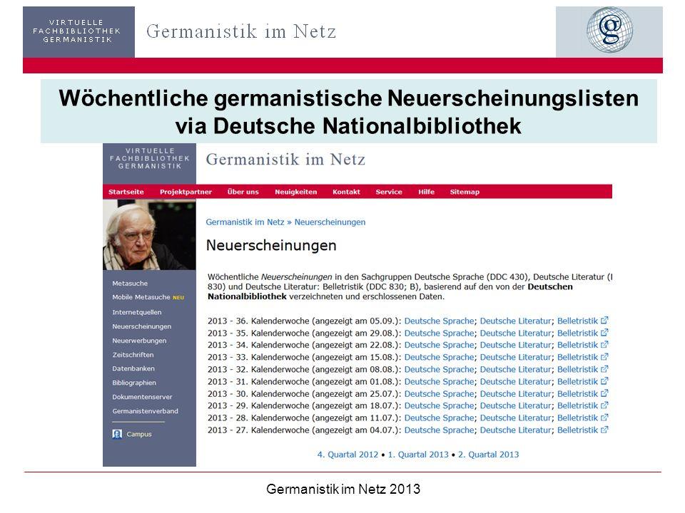 Wöchentliche germanistische Neuerscheinungslisten via Deutsche Nationalbibliothek