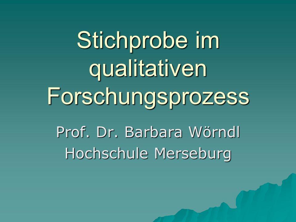 Stichprobe im qualitativen Forschungsprozess