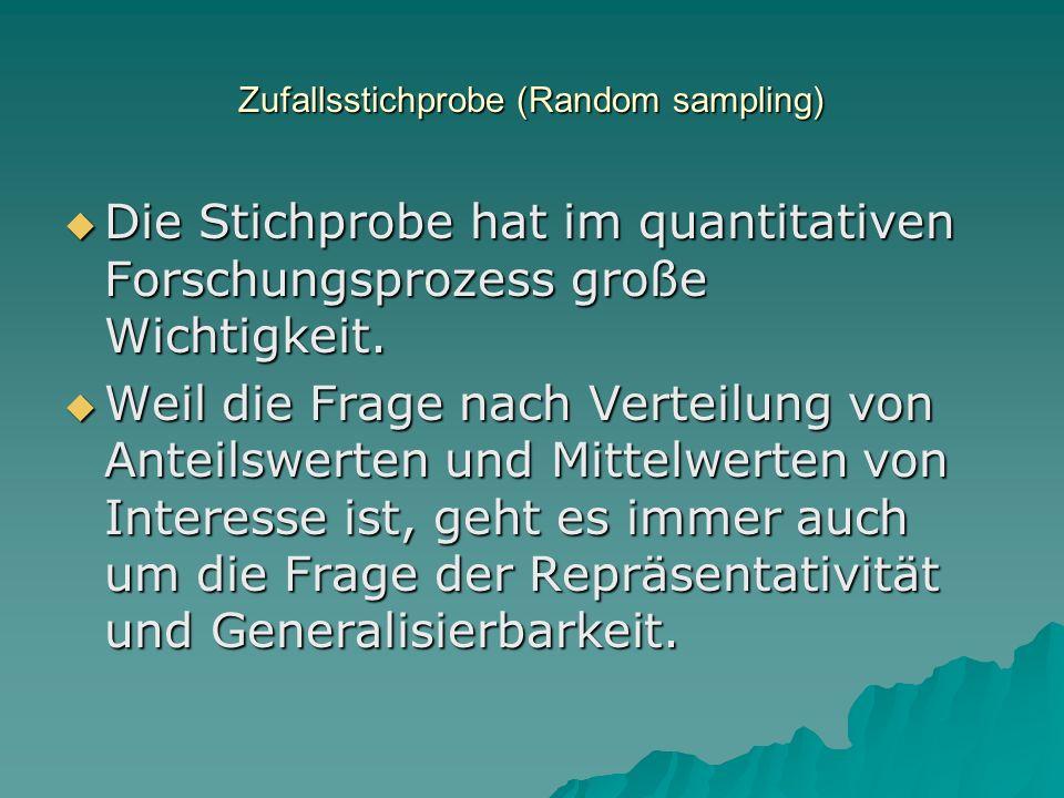 Zufallsstichprobe (Random sampling)
