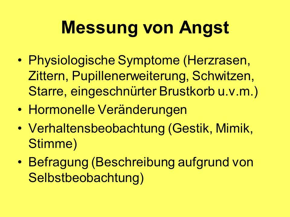 Messung von Angst Physiologische Symptome (Herzrasen, Zittern, Pupillenerweiterung, Schwitzen, Starre, eingeschnürter Brustkorb u.v.m.)