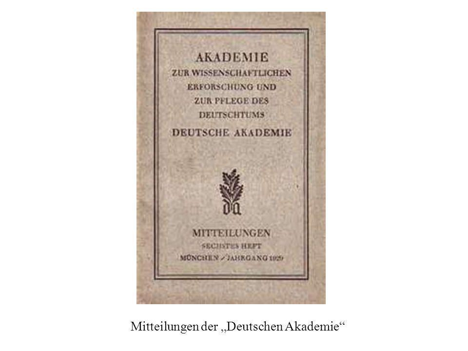 """Mitteilungen der """"Deutschen Akademie"""