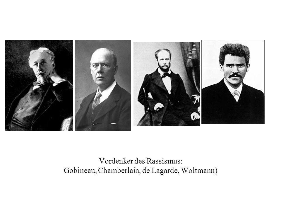 Vordenker des Rassismus: Gobineau, Chamberlain, de Lagarde, Woltmann)