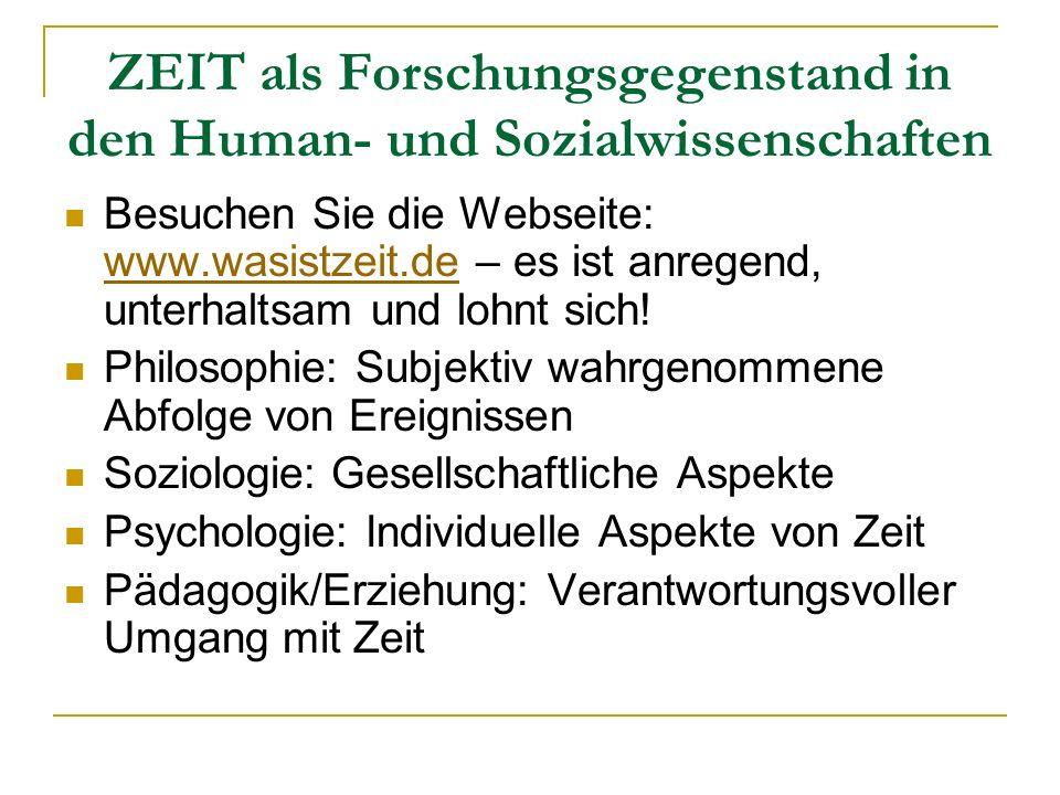 ZEIT als Forschungsgegenstand in den Human- und Sozialwissenschaften