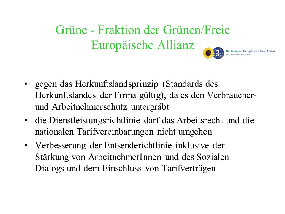 Grüne - Fraktion der Grünen/Freie Europäische Allianz
