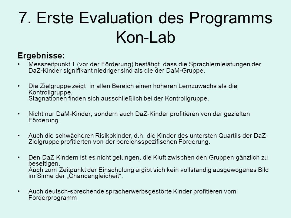 7. Erste Evaluation des Programms Kon-Lab