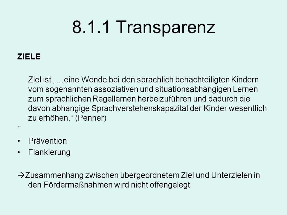8.1.1 Transparenz ZIELE.