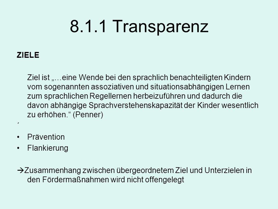 8.1.1 TransparenzZIELE.