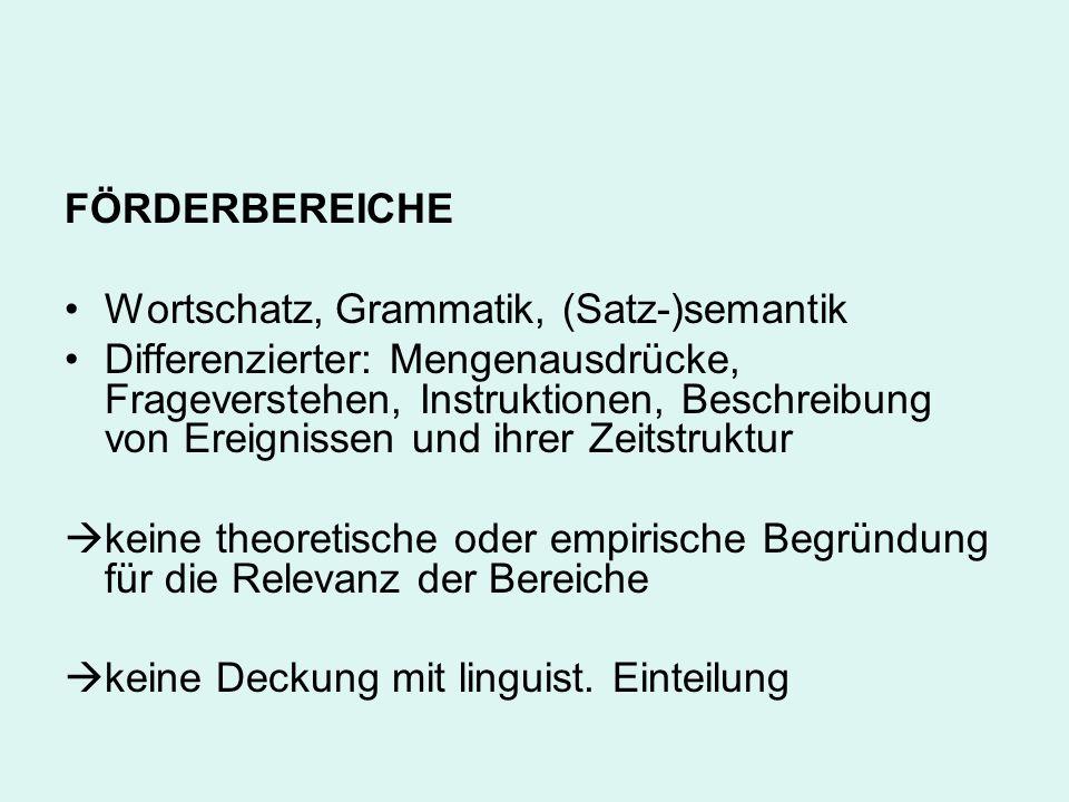 FÖRDERBEREICHE Wortschatz, Grammatik, (Satz-)semantik.