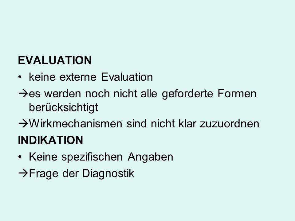 EVALUATIONkeine externe Evaluation. es werden noch nicht alle geforderte Formen berücksichtigt. Wirkmechanismen sind nicht klar zuzuordnen.